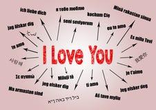 Je t'aime concept Diagramme avec le texte dans différentes langues Fond de communication et d'amour Photos stock