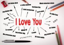 Je t'aime concept Diagramme avec le texte dans différentes langues Fond de communication et d'amour Images stock