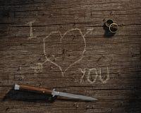 Je t'aime découpé sur le bois Photos libres de droits
