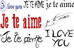 Je t'aime en anglais et français Photographie stock