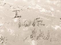 Je t'aime en sable Image libre de droits