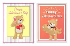 Je t'aime et moi Teddy Bears Vector Images stock
