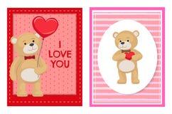Je t'aime et moi Teddy Bears Vector Photo stock