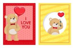Je t'aime et moi Teddy Bears Vector Photographie stock