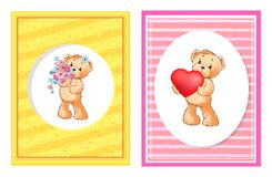 Je t'aime et moi Teddy Bears Vector Illustration de Vecteur