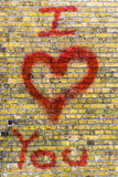 Je t'aime graffiti de coeur Photos stock