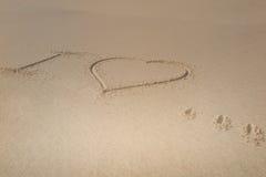 Je t'aime, jour de valentines sur le sable Photo stock