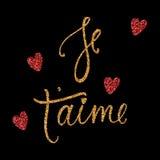 ` Je t aime Karte mit goldenem und rotem Funkelneffekt Ich liebe dich auf französisch Moderne Bürstenkalligraphie Glückliche Vale Lizenzfreies Stockfoto