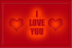 Je t'aime légende aux lettres rouges et à deux coeurs Images libres de droits