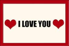 Je t'aime légende dans les lettres noires Images stock