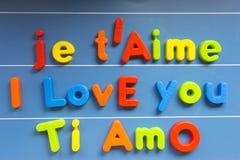Je t'aime, l'anglais, Français et Italien Images libres de droits