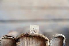 Je t'aime lettrage de main Carte de jour de Valentines Photographie stock
