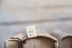 Je t'aime lettrage de main Carte de Valentine Photo libre de droits