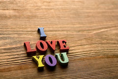 Je t'aime lettres sur le bois Images libres de droits