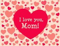 Je t'aime, maman Carte de voeux du jour de mère Photographie stock libre de droits