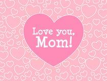 Je t'aime, maman Carte de voeux du jour de mère Photo libre de droits