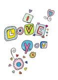 Je t'aime marquant avec des lettres Photo libre de droits