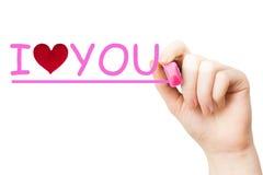Je t'aime, marqueur rose Photos stock