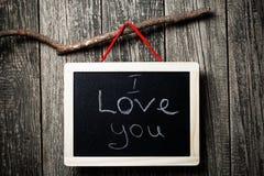 Je t'aime message écrit sur peu de tableau Photo libre de droits