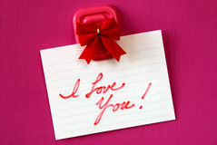 Je t'aime note Image stock