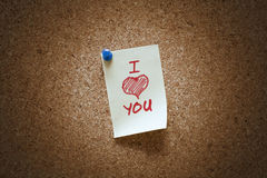 Je t'aime note Photo stock