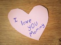 Je t'aime note de maman Images stock