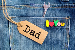 Je t'aime papa sur le fond de denim Photographie stock libre de droits