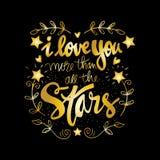 Je t'aime plus que toutes les étoiles Images stock