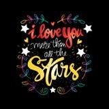 Je t'aime plus que toutes les étoiles Image stock