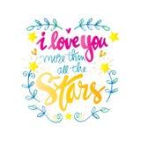 Je t'aime plus que toutes les étoiles Photographie stock libre de droits