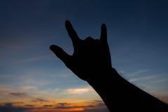 Je t'aime silhouette de main de forme de signe Images stock