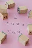 Je t'aime sur le rose Photo libre de droits