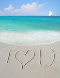 Je t'aime sur le sable Photo stock