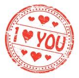 Je t'aime tampon en caoutchouc Photo stock