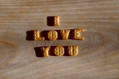Je t'aime Tas des lettres comestibles Image stock