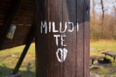 Je t'aime - Tchèque Photo libre de droits