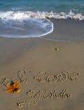 Je t'aime, texte écrit sur une plage Photos stock