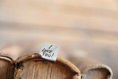 Je t'aime texte - carte heureuse de jour de valentines Photos stock