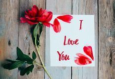 Je t'aime texte sur la feuille du papier, pivoine rouge sur le vieux fond en bois rustique photo stock