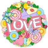 Je t'aime Un cadre plus rond fait des fleurs, des papillons, des baisers d'oiseaux et de l'amour de mot Photos stock