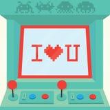 Je t'aime vecteur d'isolement par machine d'arcade Image stock