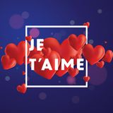 Je T`aime Vector Background. Decorative vector background with realistic 3D looking hearts created with gradient mesh, Je T`aime I love You in French typographic Stock Photos