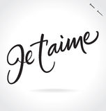 JE TAIME hand lettering (vector) Royalty Free Stock Image