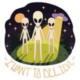 Je veux croire l'affiche de vecteur avec des étrangers sur la colline et l'UFO pendant la nuit Photo libre de droits