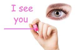 Je vous vois, marqueur rose Photo stock