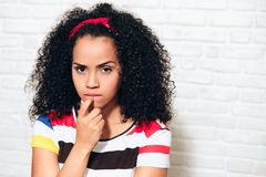 Jealous Angry Wife Young Woman Girl After Fight Argument Discussion. Portrait of angry african american woman looking at camera. Black girl showing jealousy royalty free stock photography