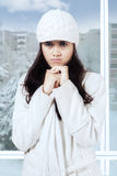 Jealous girl in winter overcoat Royalty Free Stock Photography