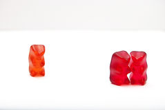 The jealous gummy bear Royalty Free Stock Images