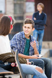 Jealous teen and his friends after conflict Royalty Free Stock Images