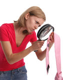 Jealous wife in search proofs attentively Stock Image